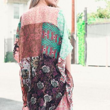 Patchwork Kimono in Mint and Fuschia