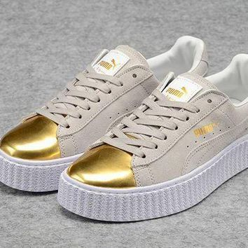 Mens Womens Puma Fenty by Rihanna Creepers Grey Gold White Suede Shoes