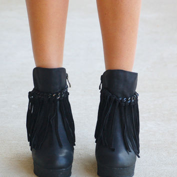 Fringe Zepp Wedge Bootie - Black