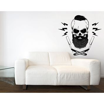 Wall Vinyl Sticker Bearded Skull Blades Hair Salon Spa Barber Shop Decor (n1063)