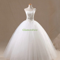 White tulle wedding dresses with Rhinestone in 2014,floor length applique gowns for wedding party,sweetheart bridal dress in plue size