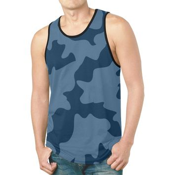 Navy Blue Camouflage Camo Gym Tank Top For Men