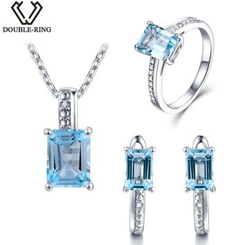DOUBLE-R Real Diamond Bridal Jewelry Sets Female 5.25ct Natural Blue Topaz 925 Sterling Silver Ring Earring Pendant Women gift