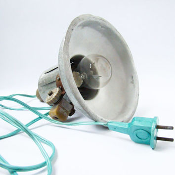 Soviet Vintage Industrial Photo Lamp / Pendant / Hanging / Mounted Metal Lamp Shade with Turquoise Cord