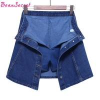 High waist denim shorts skirts women summer culotte jeans skirt shorts skort