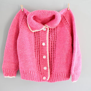 Hand Knitted Toddler Cardigan Girl Pink Cardigan Girl Button Up Sweater Shower Gift Handmade Cardigan Toddler Sweater Size 3 to 4 Years Old