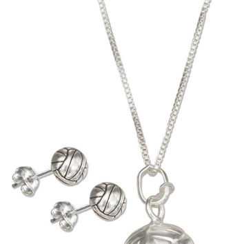 "STERLING SILVER 18"" VOLLEYBALL PENDANT NECKLACE WITH VOLLEYBALL EARRINGS SET"
