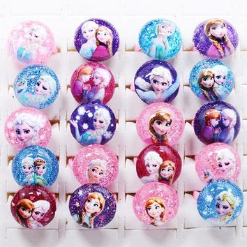 Trendy Fashion 20Pcs Cute Cartoon Lovely Elsa Resin Plastic Bright Powder Kids Girls Rings for Baby Children Party Toy Gift