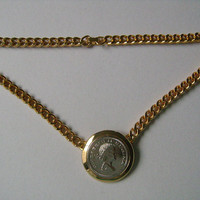 Elizabeth II Regina Silver Toned Coin Gold Tone Cuban/Curb Style Links Chain Minimalist and Stylish Necklace 16-1/2 Inches Long 60.3g Weight