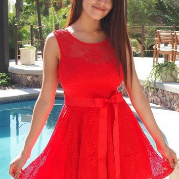 Secret Kiss Red Lace Skater Dress
