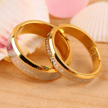 Fashion Forever Love Lovers Couple Matching Ring Steel Finger Ring Jewelryworldwise hot sale