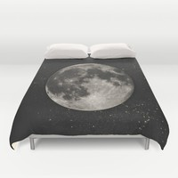 The Moon  [Sans Type] Duvet Cover by Heather Landis