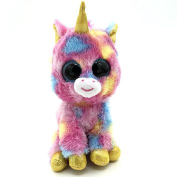 17cm Ty Beanie Boos Colorful Unicorn Kawaii Big eyes Lovely beanie boo Push Toy Stuffed Doll Ty Toys For Girl Children Friends