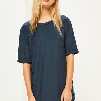 Missguided - Blue Rib Oversized T Shirt Dress