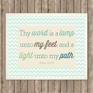 "Psalm 119:105 Scripture Art Print, Instant Download, Bible Verse, 8"" x 10"", Digital Printable, Blue Chevron, Green and Brown, God's Word"