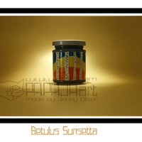 Betulus Sunsetta - Hand Painted Storage Jar, Almond nut Canister, ARt on glass