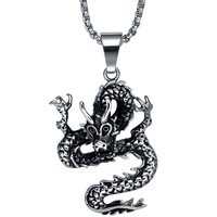 Stainless Steel Circling Dragon Pendant Necklace