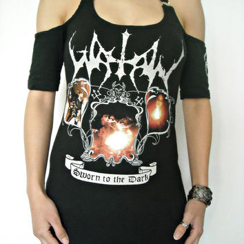 Watain shirt black metal clothing tunic top alternative apparel reconstructed altered band tee t shirt rocker clothes dark style satanic