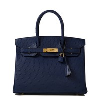 Hermès Boutique Blue Iris Ostrich Birkin 30cm - Shop Luxury Handbags | Editorialist
