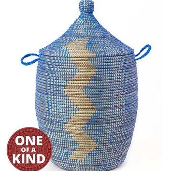 Classic Handwoven African Basket with Lid