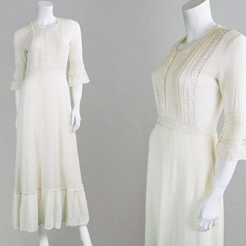 Vintage 70s Maxi Dress Mexican Dress Boho Wedding Dress Crochet Dress Lace Dress Bell Sleeves Festival Dress Gypsy Dress Cheesecloth Dress