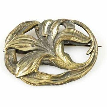 Victorian Art Nouveau Bronzetone Lily Brooch 1915