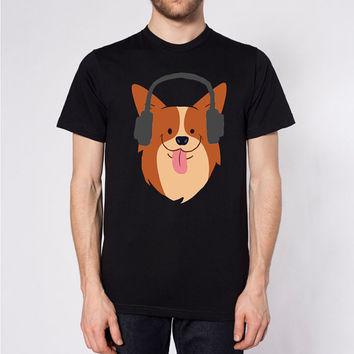 Corgi Tee - Corgi Lover - Love Dogs - Pembroke Welsh Corgi - Dog in Headphones - Fun T Shirt - Unisex - USA Made