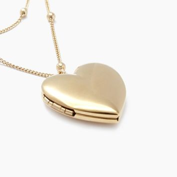 Heart Locket Necklace - 24k Gold