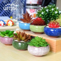 WITUSE Promotion! Pot De Fleur Bonsai Pots Ceramic Planter Desk Flower Pot Terracotta Decor Glaze Home Flowerpot Ceramica Plant