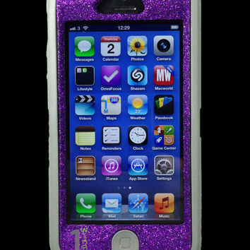 Custom Glitter Otterbox Defender Series Case for iPhone 5 Grey/Purple