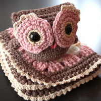 Crochet Baby Girl Gift Set - Matching Comfort Blanket and Owl, Brown, Pink, White and Tan (Ready to Ship)