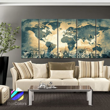 "XLARGE 30""x 70"" 5 Panels Art Canvas Print Original Wonders of the world Old Map Light yellow Wall decor Home interior (framed 1.5"" depth)"