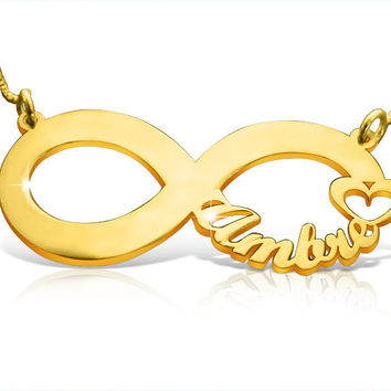 Infinity Necklace Statement Necklace Infinity Pendant Infinity Initial Necklace Best Friend Necklace Baby Naming Gift Gold Filled Jewelry