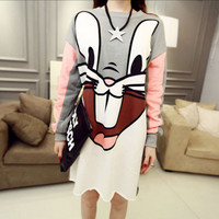 Bugs bunny cartoons printed loose long fleece