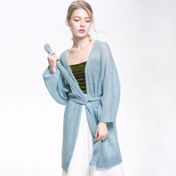 Fashion Women Long Knitted Cardigans Autumn Thin Puff Sleeve Solid Sweater Cardigans Overcoat Plus Size