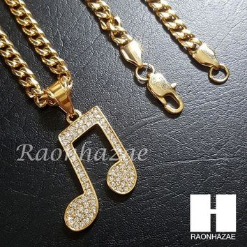 DCCKH7E Iced Out 316L Stainless steel Gold Music Note Pendant 5mm Cuban Chain S2