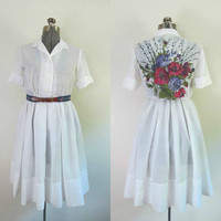 Vintage 1960s White Voile Dress Rockabilly Full Skirt Painted Floral Back