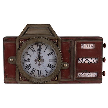 Cooper Classics 40501 Volga Antique Distressed Red with Aged Brass and Black Undertone Clock