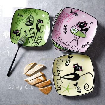 Creative fashion Slinky Cat 7.5 inches Ceramic square plate Dish fruit dish Steak dish Porcelain Tableware Microwave available