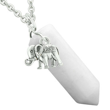 Lucky Elephant Charm Magic Powers Amulet Crystal Point Pendant White Snowflake Quartz 18 Inch Necklace