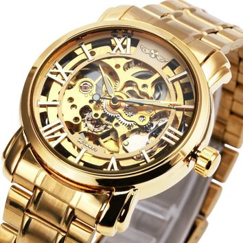 Fashion Dress Men Golden Auto Mechanical Watch Stainless Steel Strap Skeleton Dial Roman Number Royal Style Wristwatch