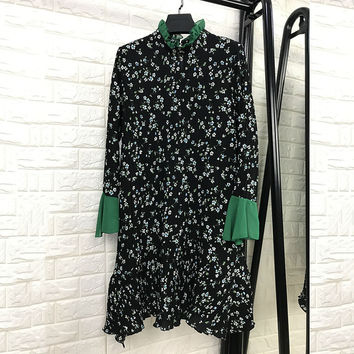 High Quality Dresses Ruffled Butterfly Sleeve Floral Print 2017 Summer Black Women Luxury Patchwork Dress