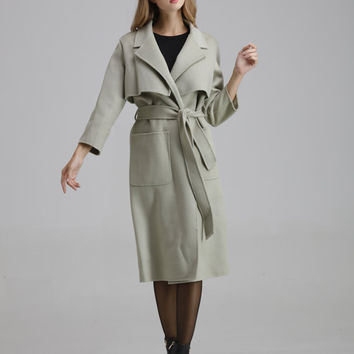 Woman's Gray wool coat,Gray wool coat,wool coat , gray coat ,coat for women,winter coat, gray woman wool coat ,autumn coat wool  ,0916013