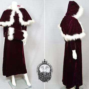 Vintage 60s Red Silk Velvet & Marabou Feathers Cape and Dress Winter Wedding Wonderland Russian Princess Bohemian Dress Set Boho Luxe 1960s