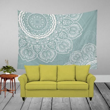 Wall Tapestry - 'Mandala Sage and White' - Home,Decor, Wall,Modern, Home Warming, Gift, Symmetry, Harmony, Bohemian, Boho, Hippie, Mandala
