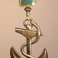 Nautical Brass Anchor Turquoise Porcelain Glass Light or Ceiling Fan Pull