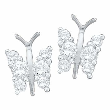 14kt White Gold Women's Round Diamond Butterfly Bug Screwback Stud Earrings 1-3 Cttw - FREE Shipping (USA/CAN)