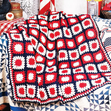 Vintage Crochet Pattern Patchwork Granny Square patriotic Flag Afghan Throw Blanket Bed PDF Instant Download epsteam crochet pattern decor