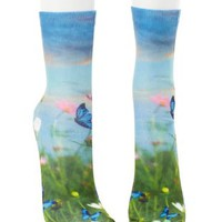 Multi Butterfly Photo Print Crew Socks by Charlotte Russe
