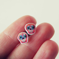 pink calaveras skull stud earrings